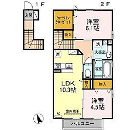 山口県下関市大字田倉の賃貸アパートの間取り