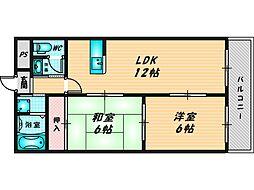 スカイガーデン東大阪 4階2LDKの間取り