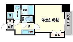 DwellingASAHI 4階1Kの間取り