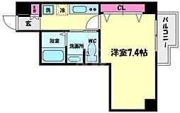 アキソレイユ本田 10階1Kの間取り