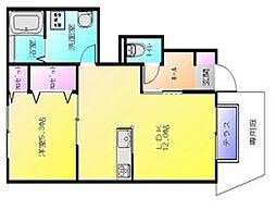 大阪府八尾市久宝寺1丁目の賃貸アパートの間取り