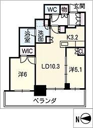 プラウドタワー名古屋栄402号[4階]の間取り