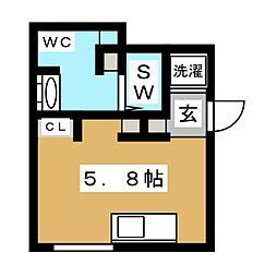 MOK.A-Osaki 1階ワンルームの間取り