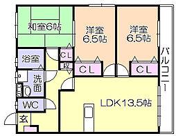 福岡県久留米市瀬下町の賃貸アパートの間取り