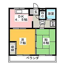 コーポ竹本A[3階]の間取り