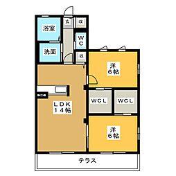 レ・フレール A棟[1階]の間取り