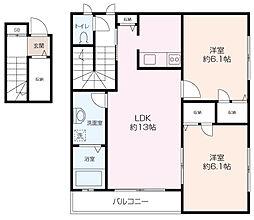 カーム桜山B棟 2階2LDKの間取り