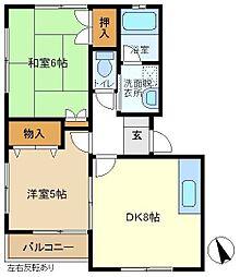 ハイツヴェルミー2B[2階]の間取り