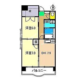 ClareFujimoto南棟(クレアフジモト)[2階]の間取り