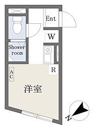 Growcel北新宿 地下1階ワンルームの間取り