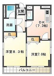 静岡県三島市中央町の賃貸マンションの間取り