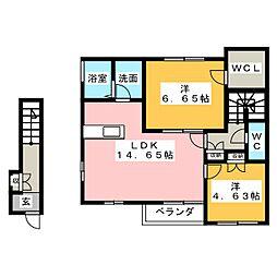 ブルースカイ A棟[2階]の間取り