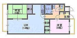 京都府京都市西京区下津林番条の賃貸マンションの間取り