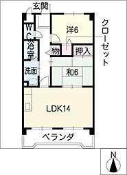 桜ハイツ平川[4階]の間取り