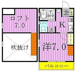 アパートメントKASAIII[203号室]の間取り