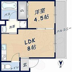 ディアコート岩田 2階1LDKの間取り