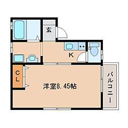 奈良県奈良市尼辻西町の賃貸アパートの間取り