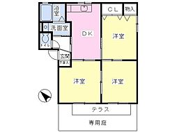 JR高崎線 北本駅 徒歩25分の賃貸アパート 1階3DKの間取り