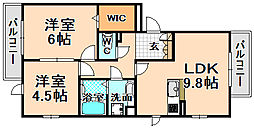 兵庫県伊丹市平松6丁目の賃貸アパートの間取り