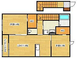 ラフィーネA[2階]の間取り