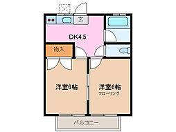 三重県鈴鹿市阿古曽町の賃貸アパートの間取り