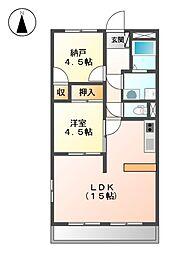 愛知県名古屋市北区如来町の賃貸マンションの間取り