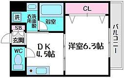 第3せいわ 4階1DKの間取り