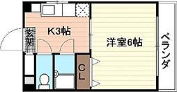 広島電鉄9系統 白島駅 徒歩8分の賃貸マンション 3階1Kの間取り