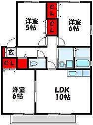 福岡県遠賀郡岡垣町野間3丁目の賃貸アパートの間取り