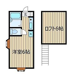 ミヤハウス5号棟[206号室]の間取り