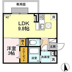 JR吉備線 備前三門駅 徒歩13分の賃貸アパート 1階1LDKの間取り