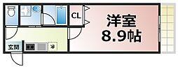 レクラン深江南 10階1Kの間取り