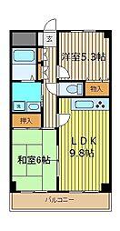 埼玉県ふじみ野市市沢1丁目の賃貸マンションの間取り