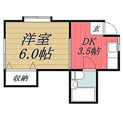千葉県市原市ちはら台南6丁目の賃貸アパートの間取り
