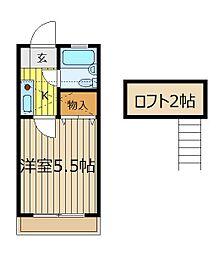 埼玉県朝霞市泉水3丁目の賃貸アパートの間取り