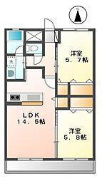 ペアマルタ[4階]の間取り