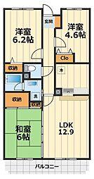 神奈川県大和市大和東2丁目の賃貸マンションの間取り