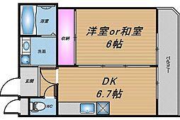 大阪府大阪市北区菅栄町の賃貸マンションの間取り