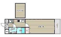 セレブコート梅田 8階1Kの間取り