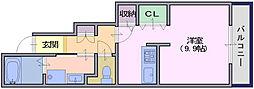 フォンテーヌN-5 1階ワンルームの間取り
