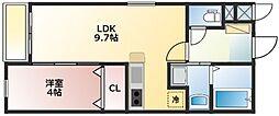 メテオール久留米本町 3階1LDKの間取り