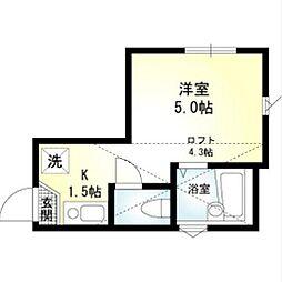神奈川県横浜市神奈川区子安通1丁目の賃貸アパートの間取り