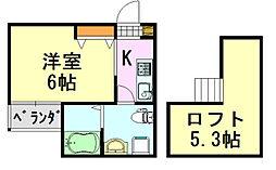 io deux(イオ・ドゥ)[1階]の間取り