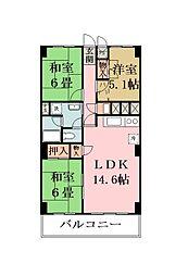 埼玉県草加市松原4丁目の賃貸マンションの間取り