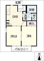 サニーヒル永和B棟[2階]の間取り