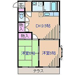神奈川県横浜市港北区菊名1丁目の賃貸アパートの間取り