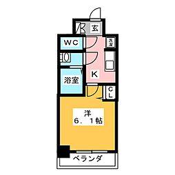 プレサンスTHE MOTOYAMA 8階1Kの間取り