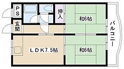 摂津第1マンション[301号室]の間取り