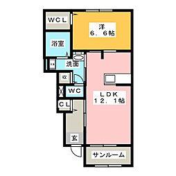 ハピネスハウスR 1階1LDKの間取り