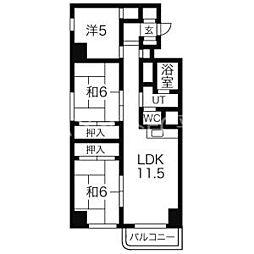 北海道札幌市豊平区平岸七条14丁目の賃貸マンションの間取り